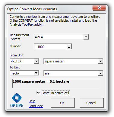 Optipe Convert Measurements