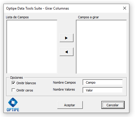Optipe Data Tools Suite Girar Columnas